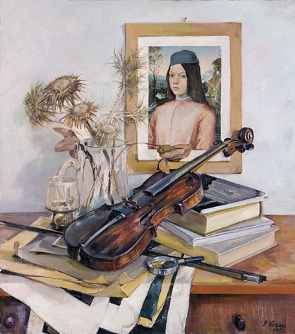 Still Life with a Violin and Renaissance Portrait