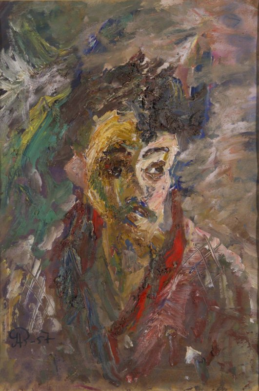 Self-Portrait with a Red Scarf