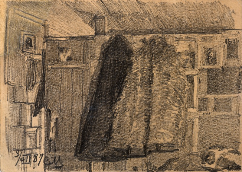 Sketch of Coats on a Coat Rack