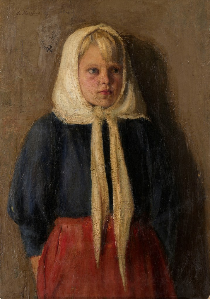A Peasant Girl Wearing a White Scarf
