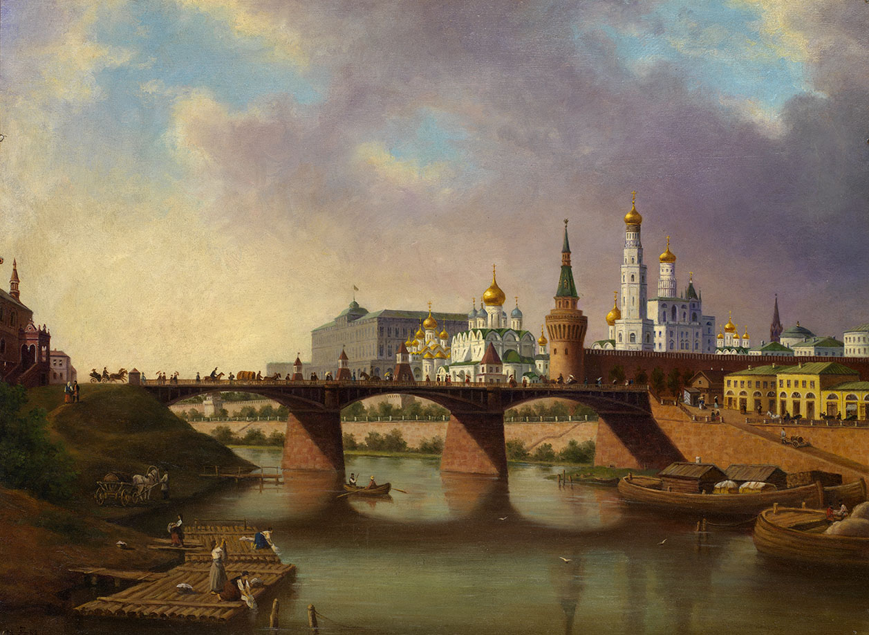View of Kremlin (Moskvoretsky Bridge from the Moscow River Embankment)