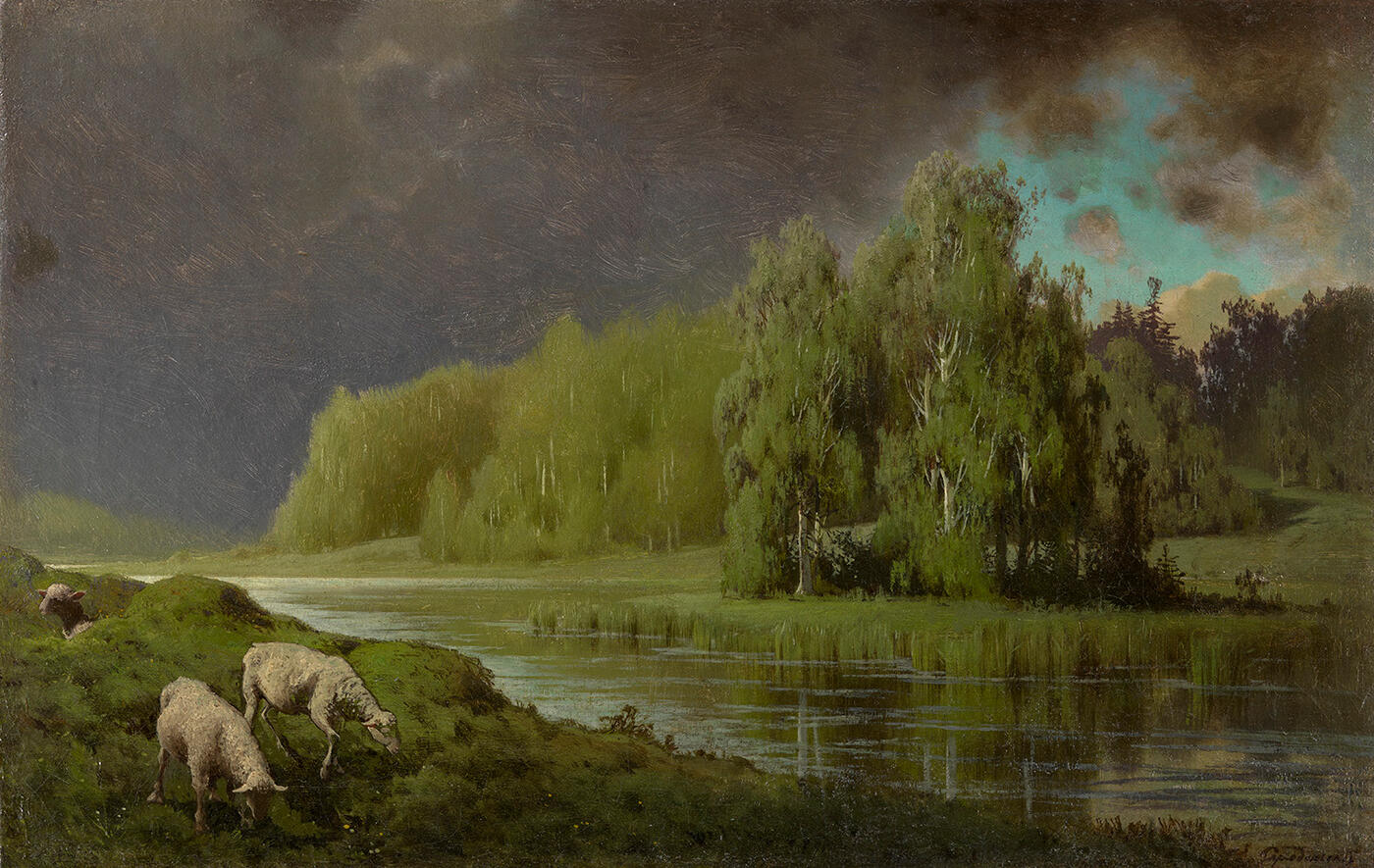 Approaching Storm, Sheep on a River Bank