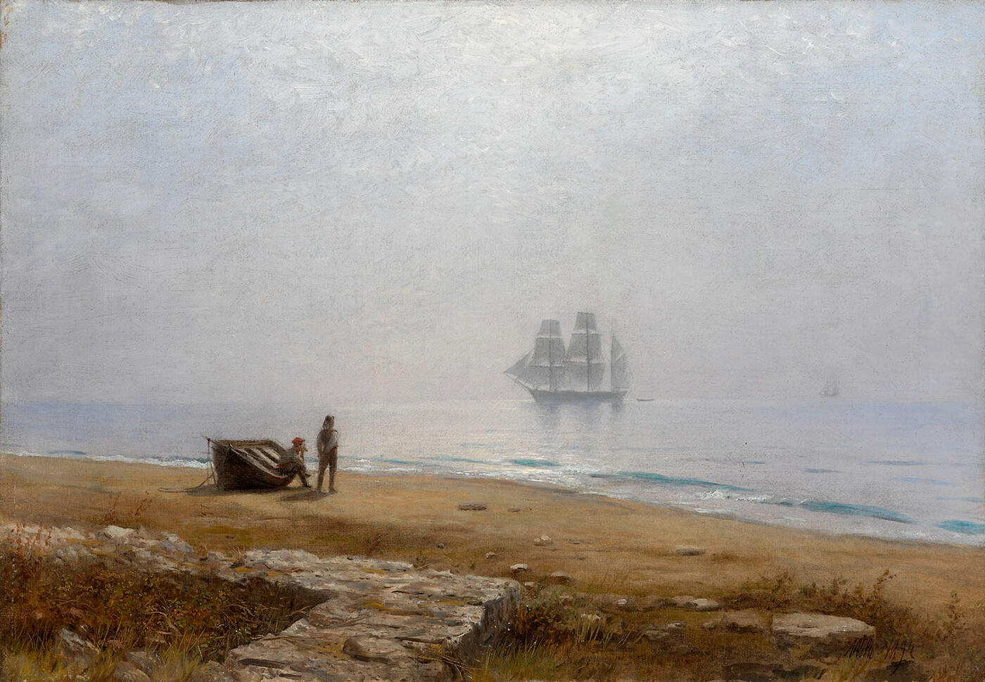 Coastal Scene with a Passing Ship