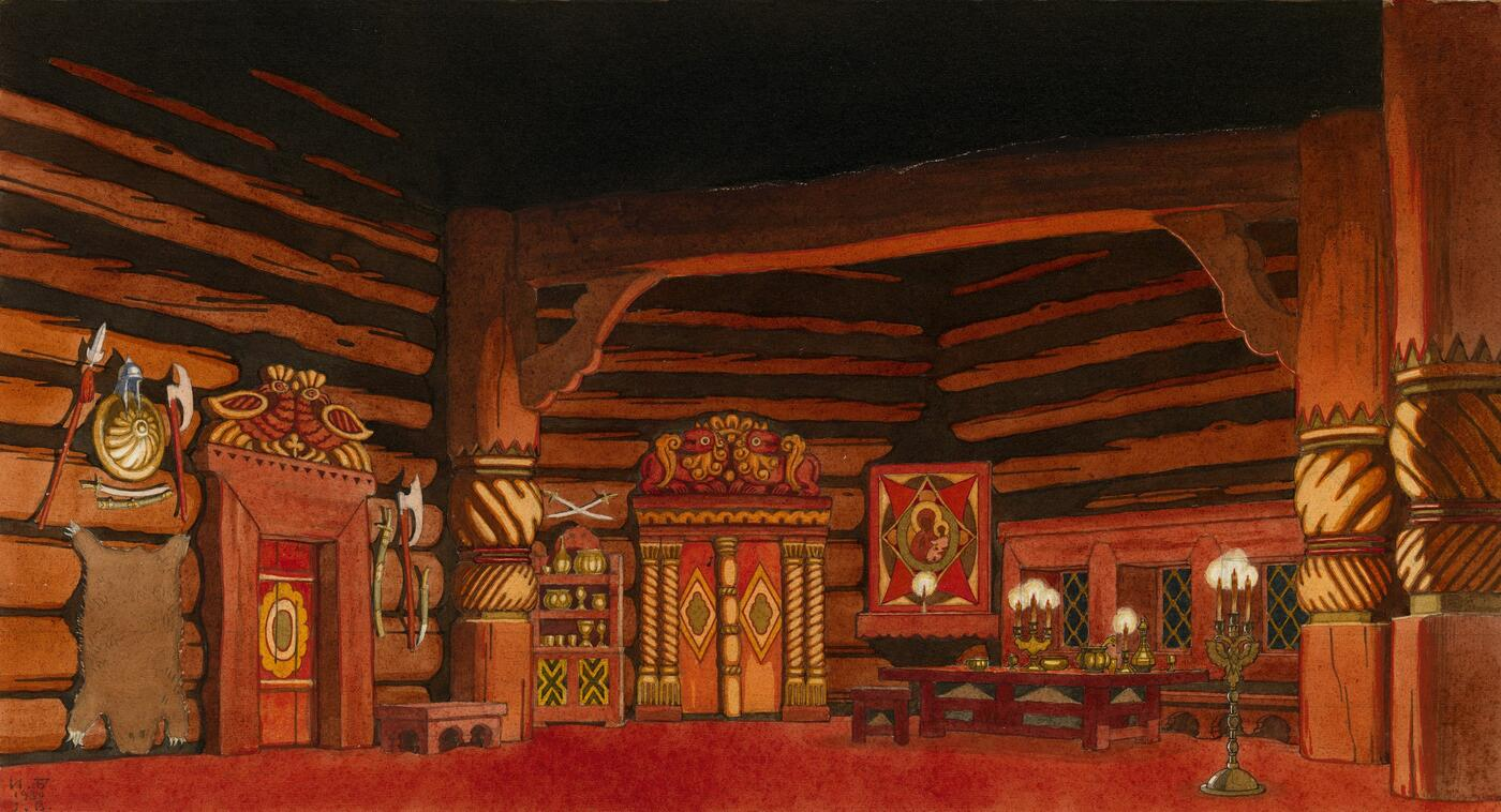 "Set Design for the Opera ""The Tsar's Bride"" by Nikolai Rimsky-Korsakov, First Act"