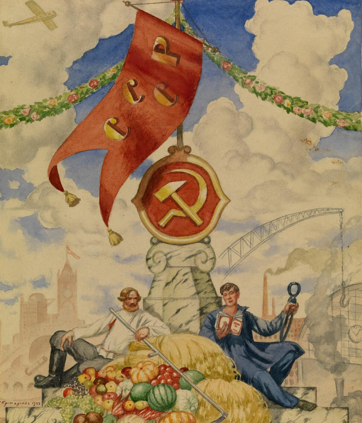 "Worker and Farmer. Cover Design for the Anniversary Issue of the Magazine ""Petrograd"""