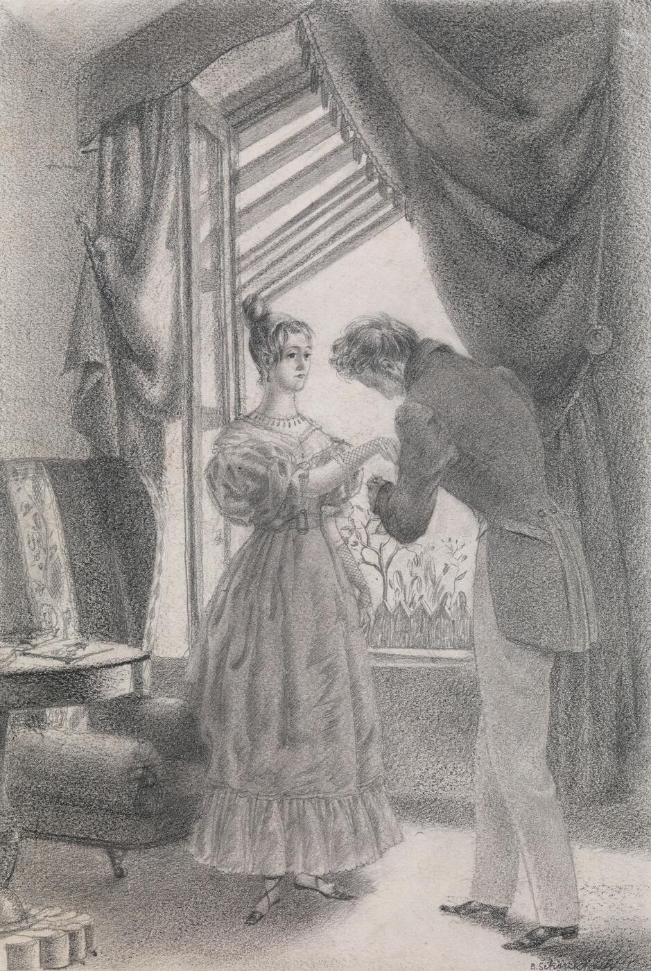 "Illustration for ""Les Deux Maîtresses"" by Alfred de Musset, published in 1928"