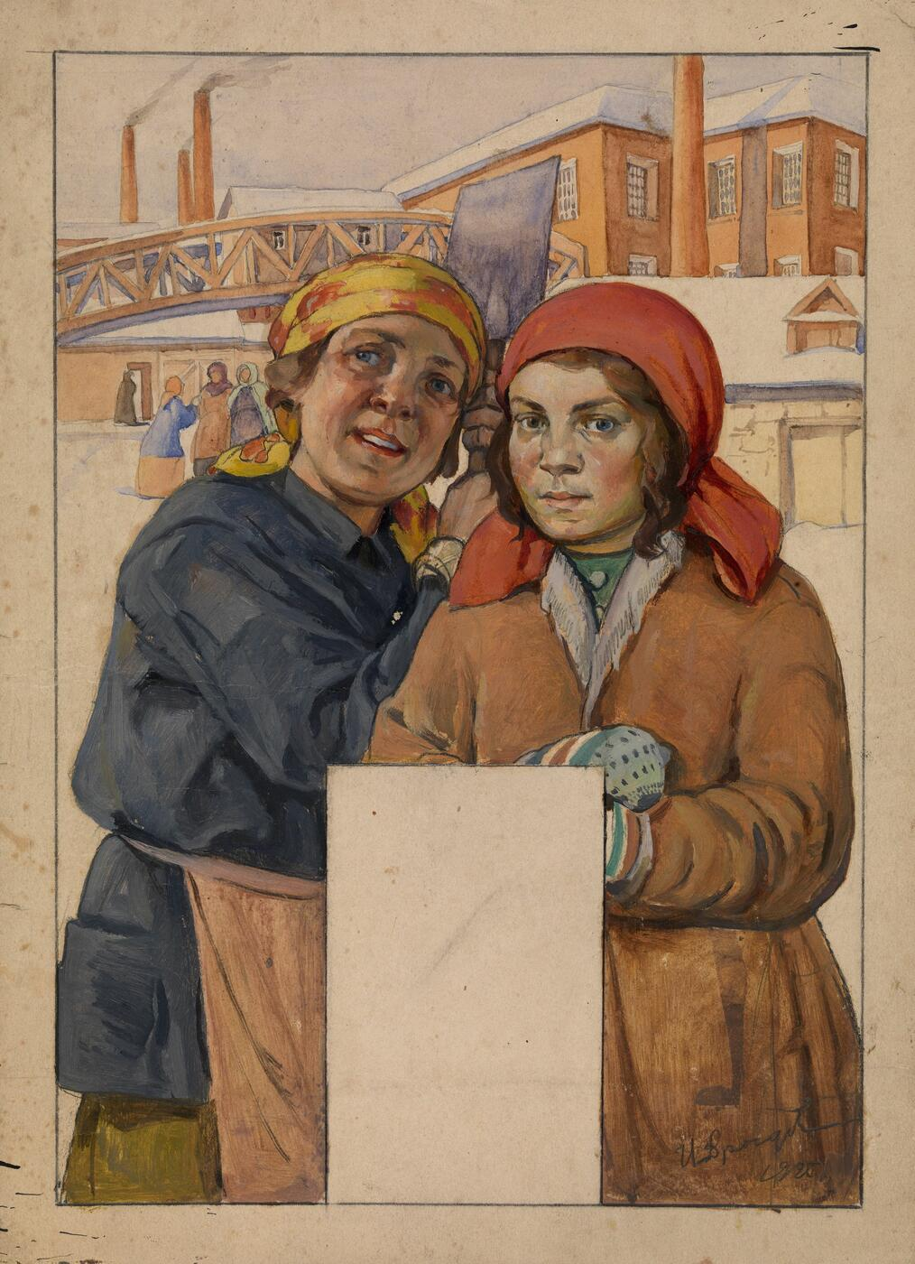 Two Factory Workers. Design for a Wall Calendar