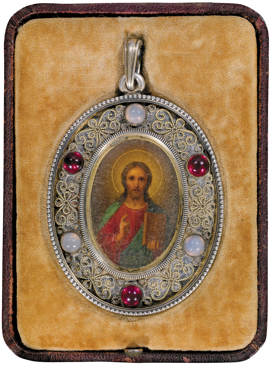 EARLY 20TH CENTURY, OIL ON ZINC PLATE, MAKER'S MARK OF VICTOR ARNE IN CYRILLIC,MARK OF KARL FABERGÉ IN CYRILLIC, MOSCOW, HAND-WRITTEN DATE ON INTERNAL BACKING PLATE 21 FEBRUARY, 1904