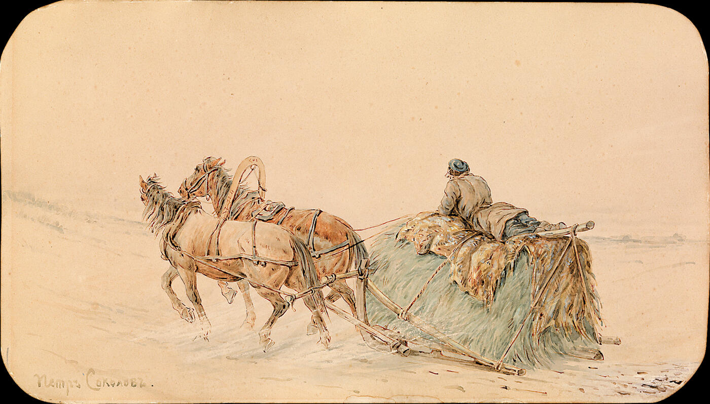 Horses Drawing a Sleigh,