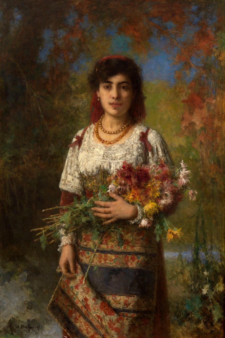 Gypsy Girl with Flowers