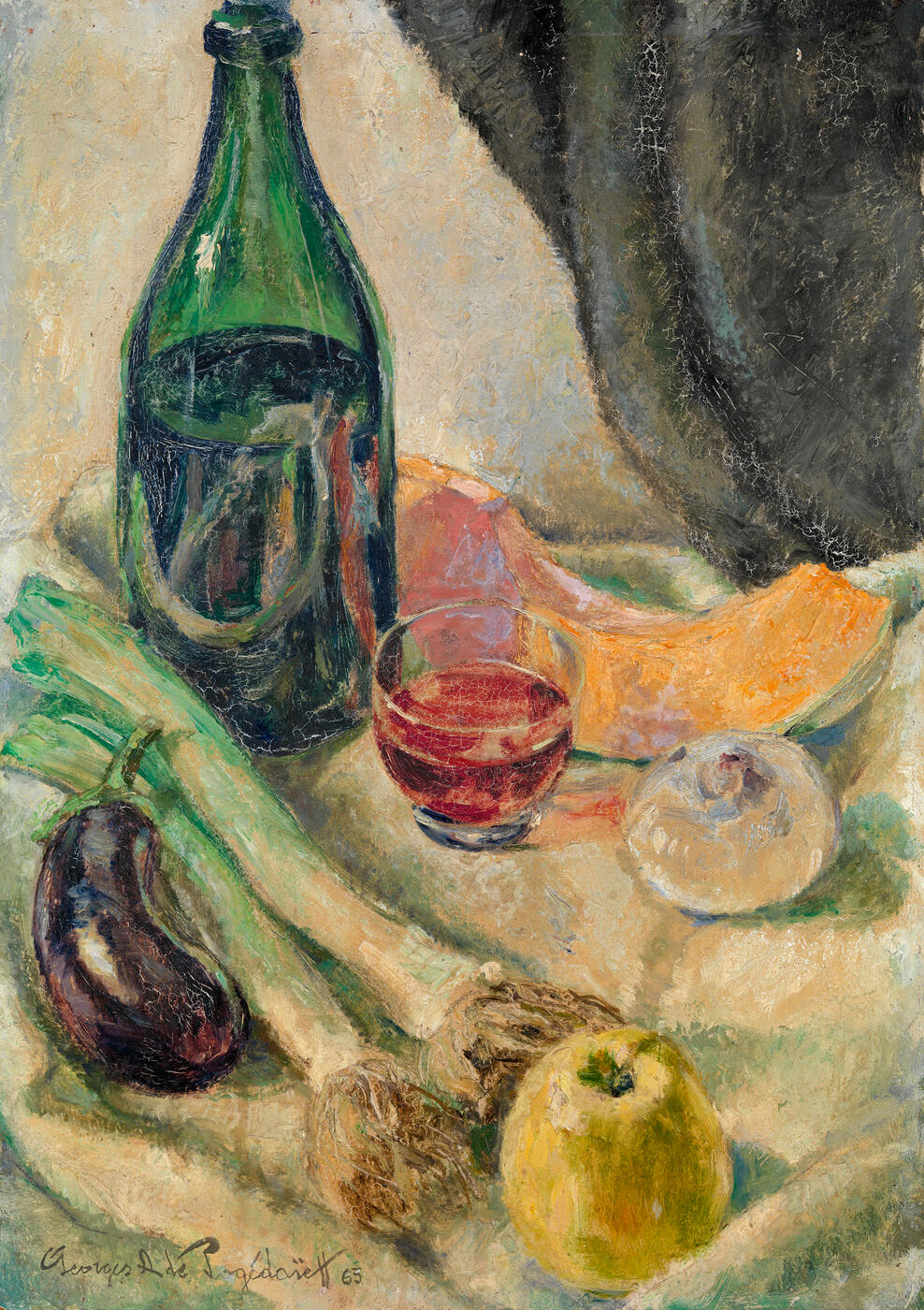 Rustic Still Life with a Bottle of Wine