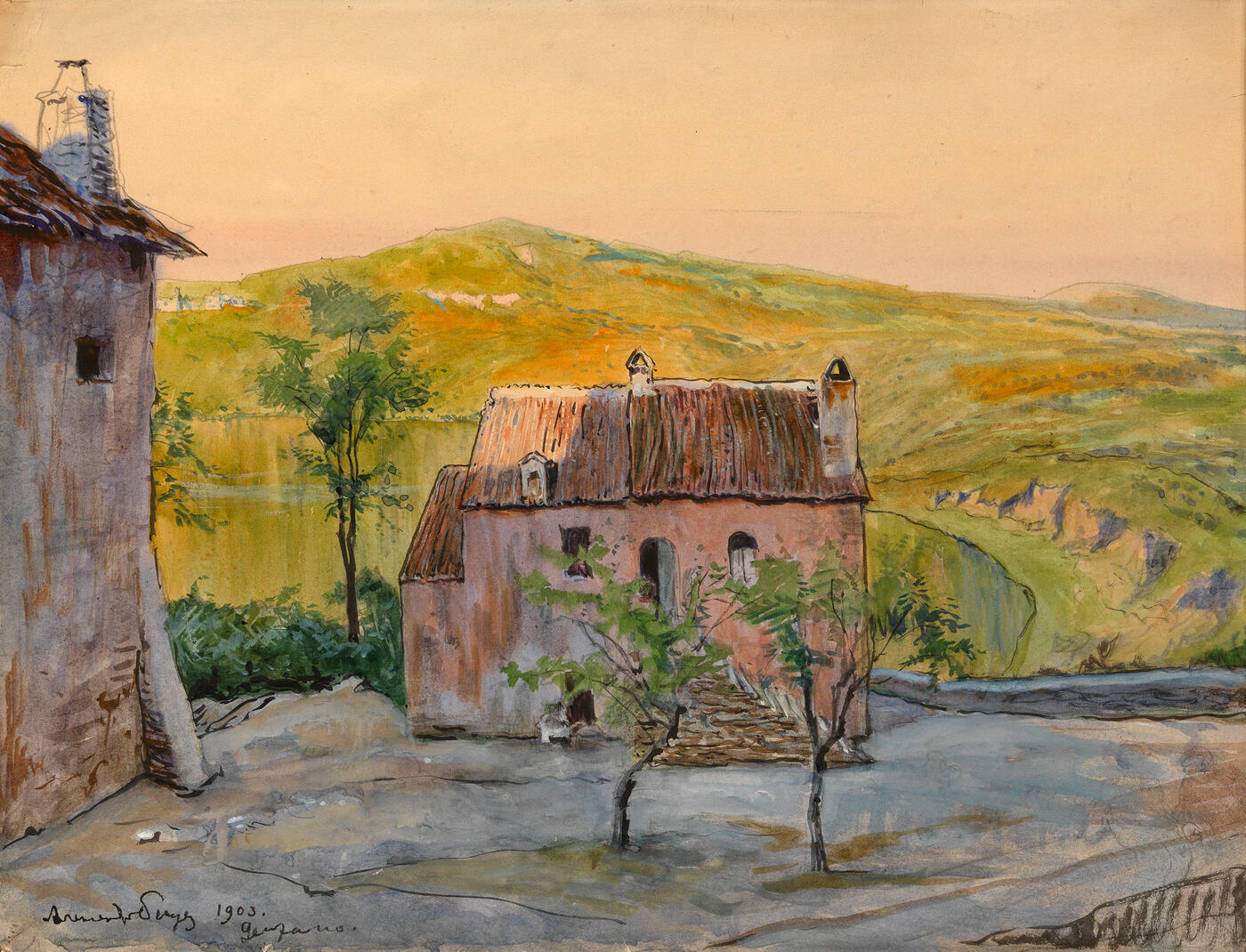 Italian Landscape with a Pink House