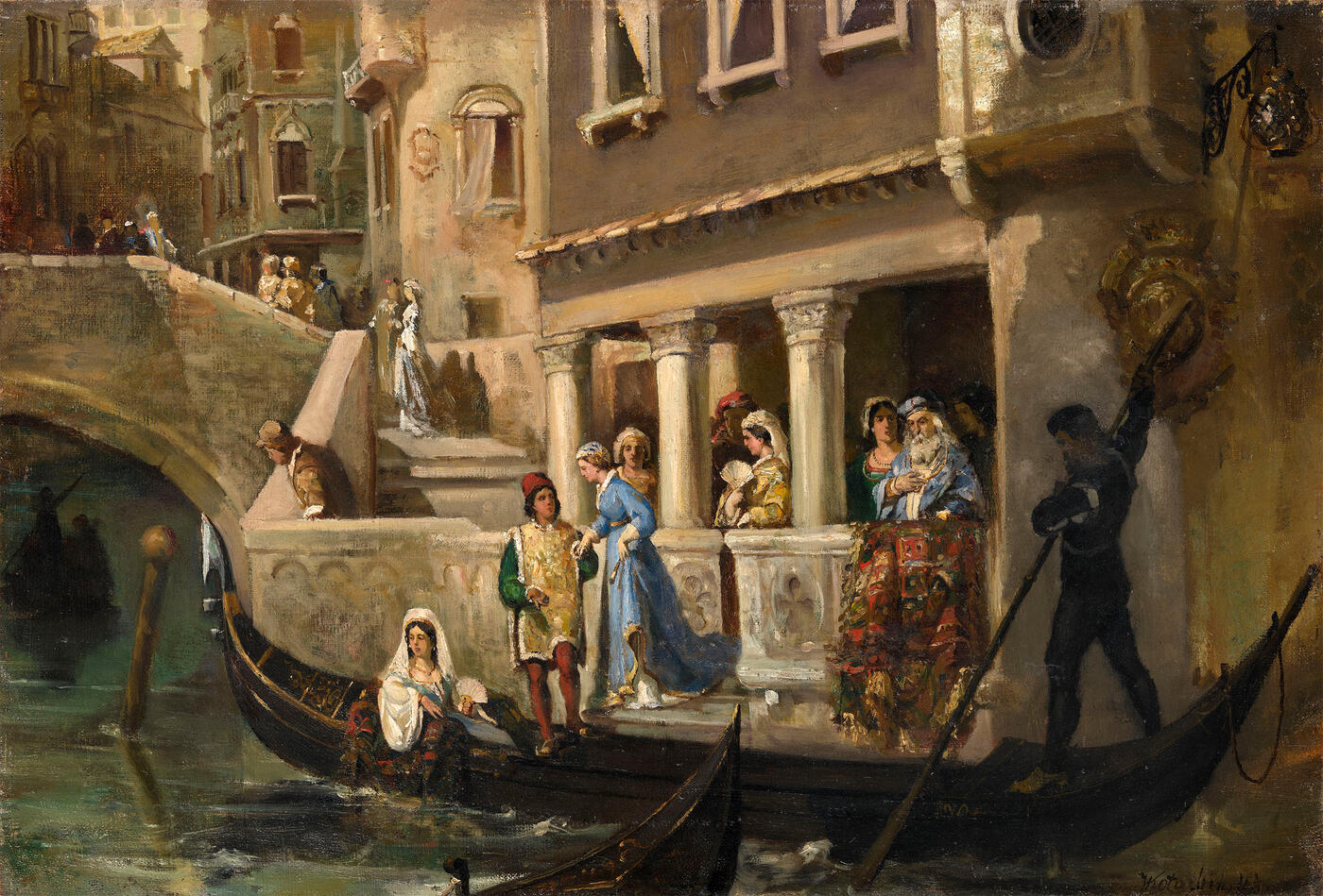 Dignitaries Boarding a Gondola on a Venetian Backwater
