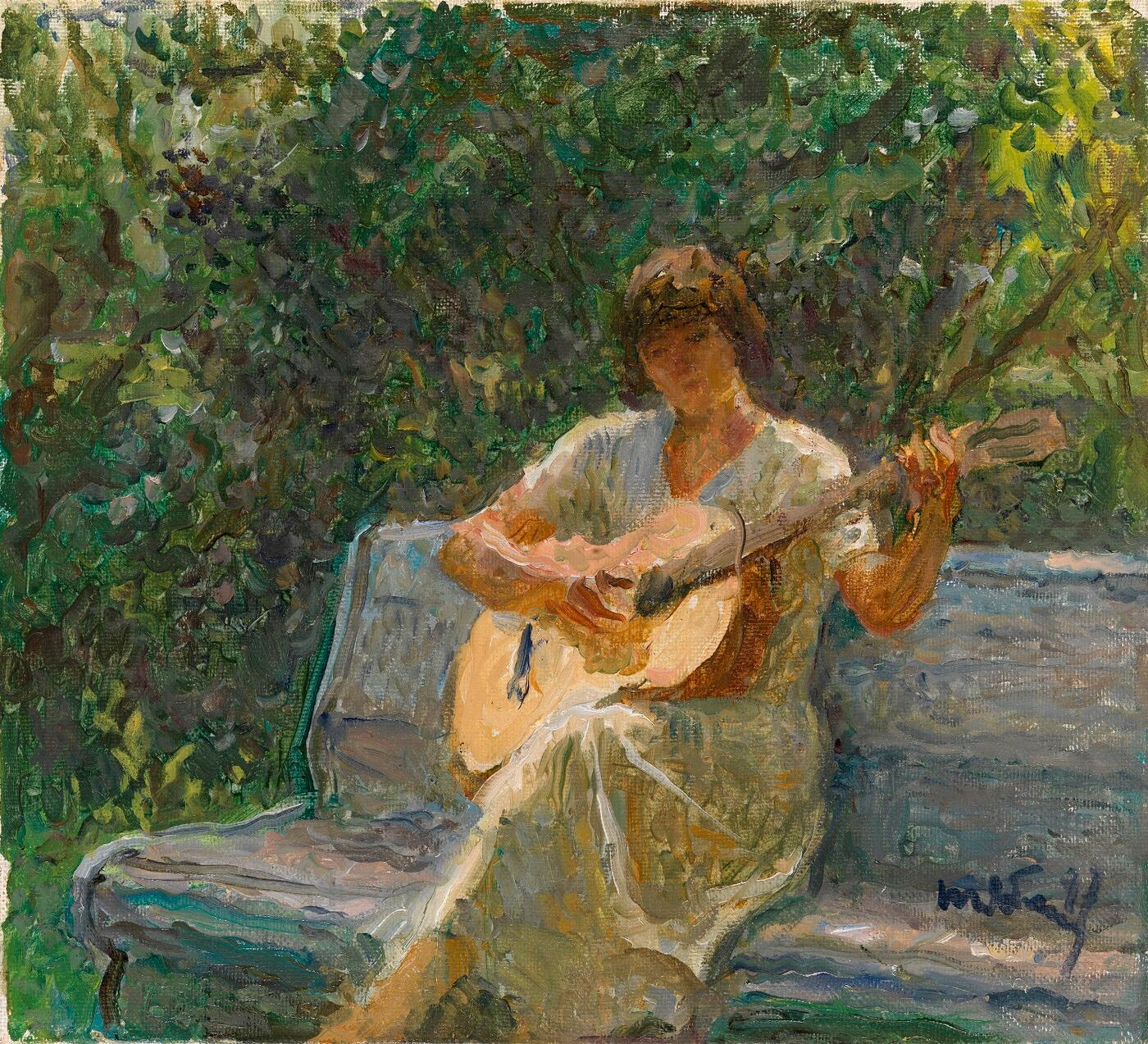 The Artist's Granddaughter Playing the Guitar