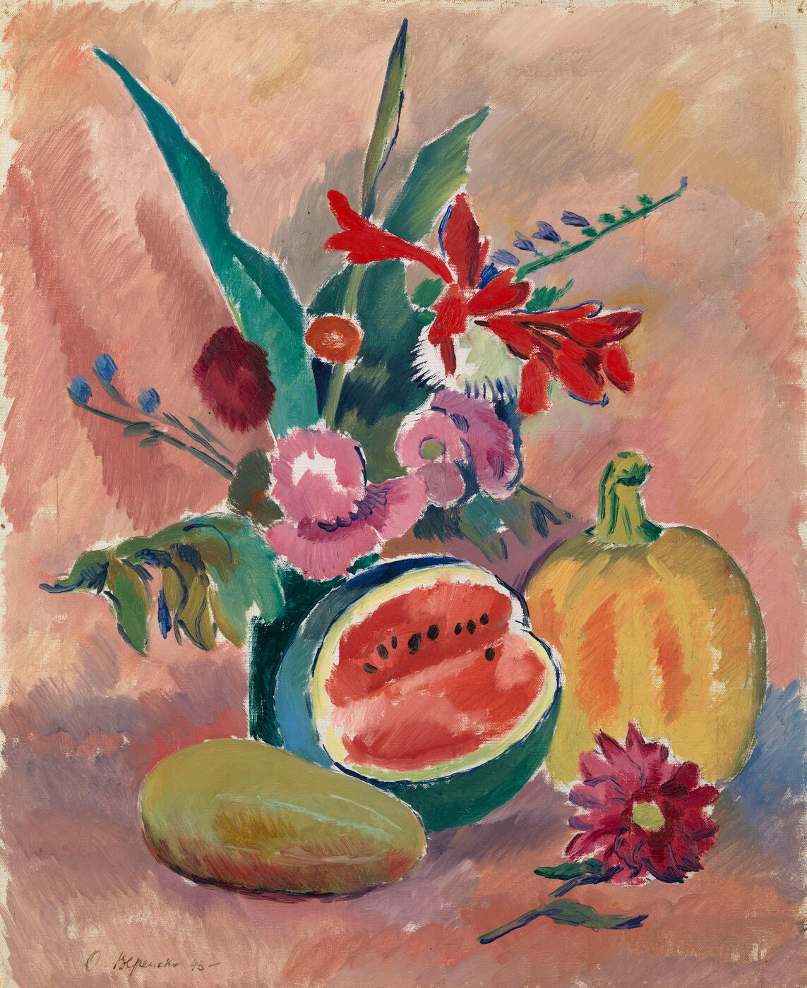 Still Life with  Flowers and Watermelon