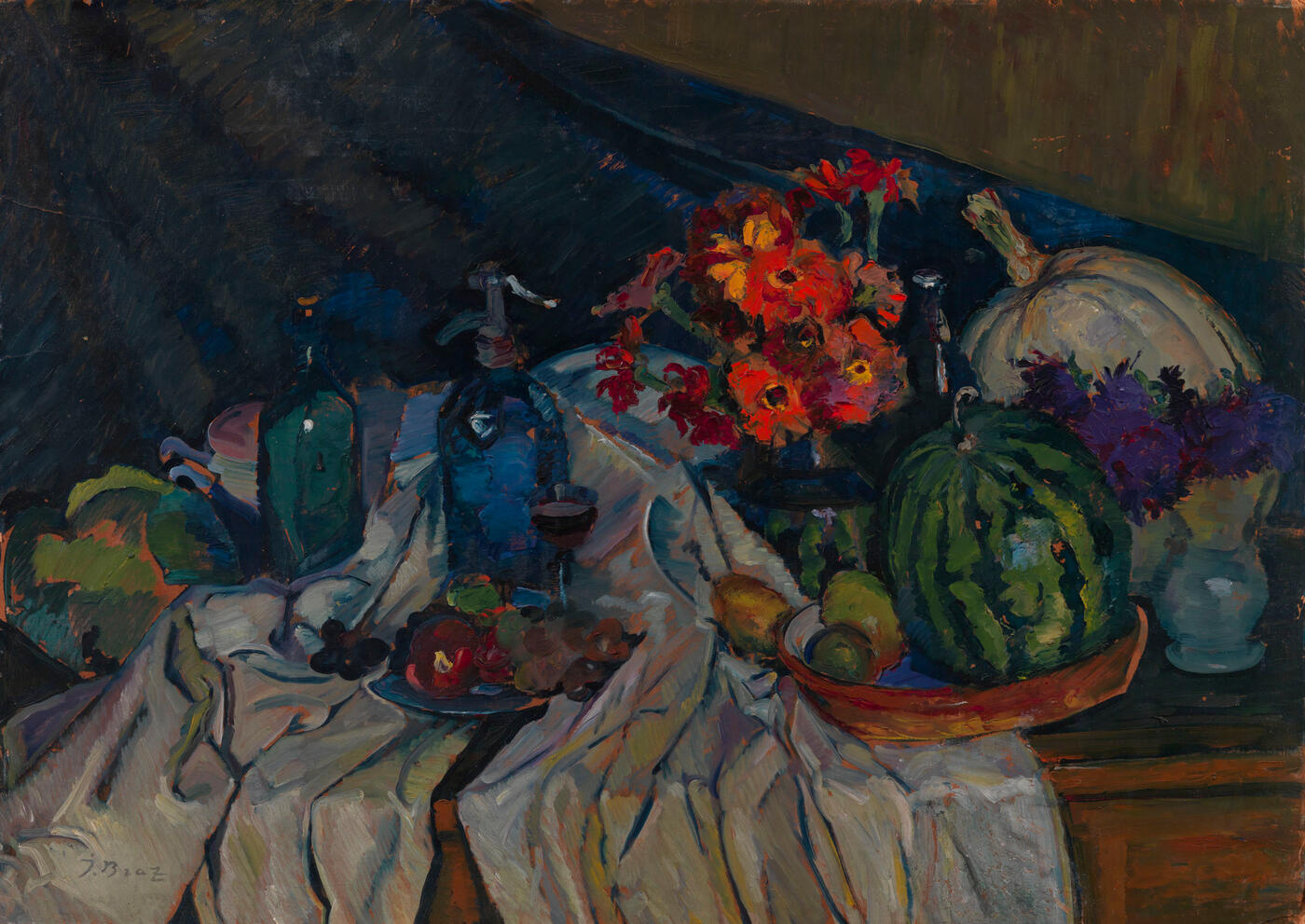 Still Life with Watermelon and Flowers