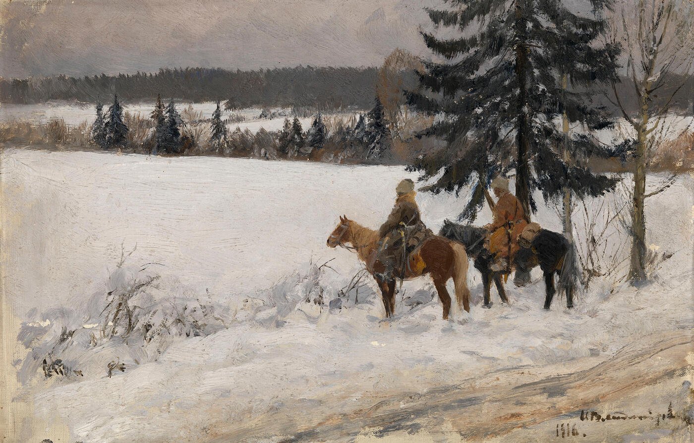 Winter Scene with Two Cossack Horsemen