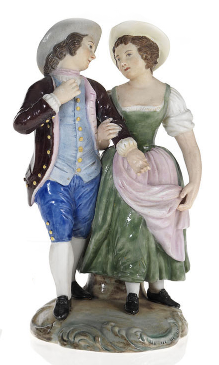 A Part Glazed Biscuit Porcelain Composition of Young Lovers