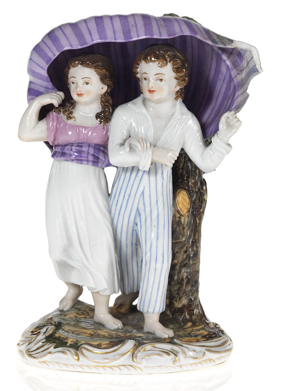A Porcelain Composition of a Young Couple Running from the Storm