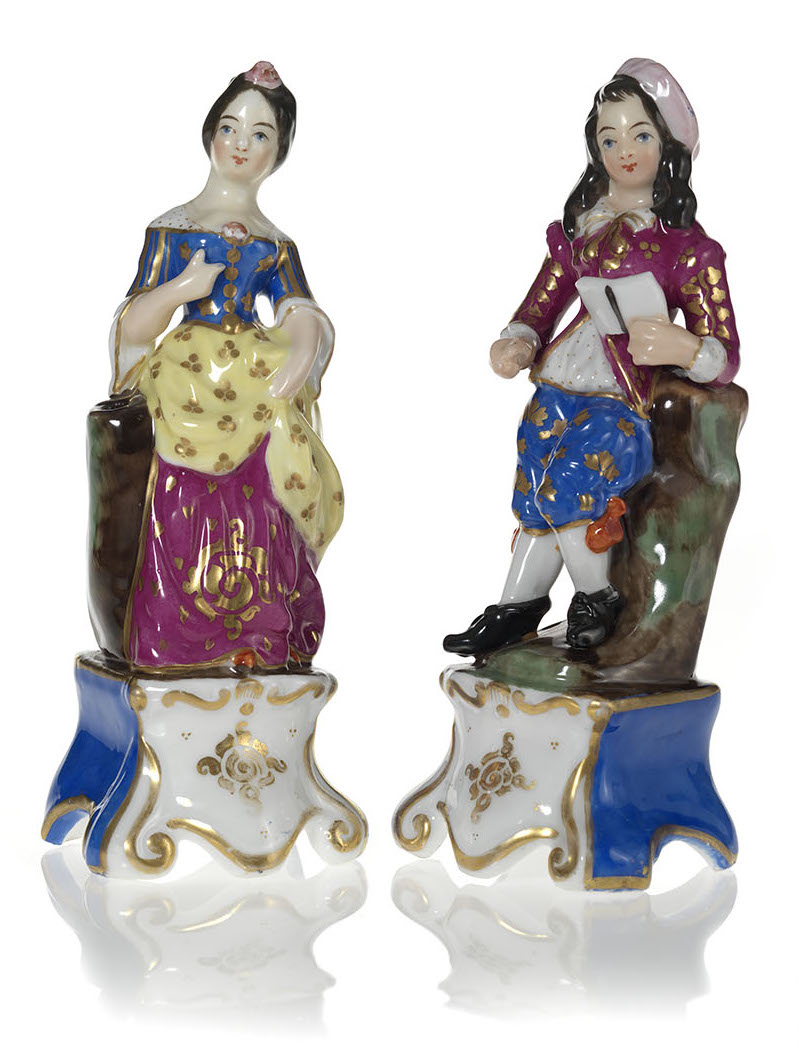 A Pair of Porcelain Figurines of a Young Couple