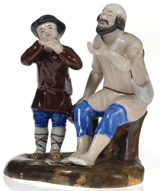 A Small Porcelain Composition of a Blind Beggar and His Son