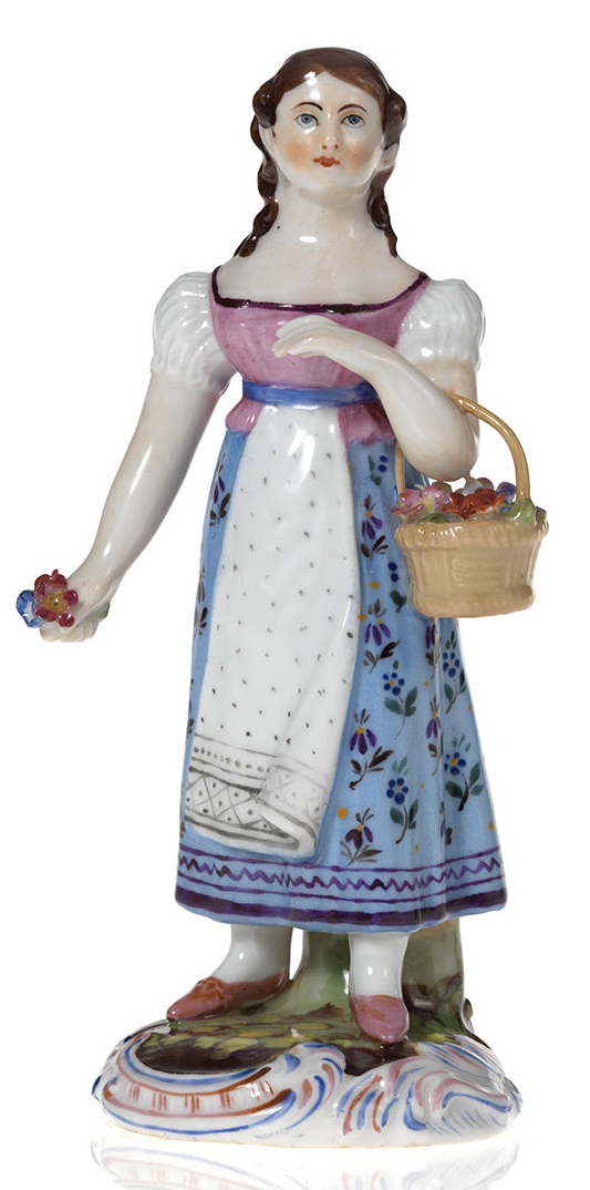 A Porcelain Figurine of a Flower Girl