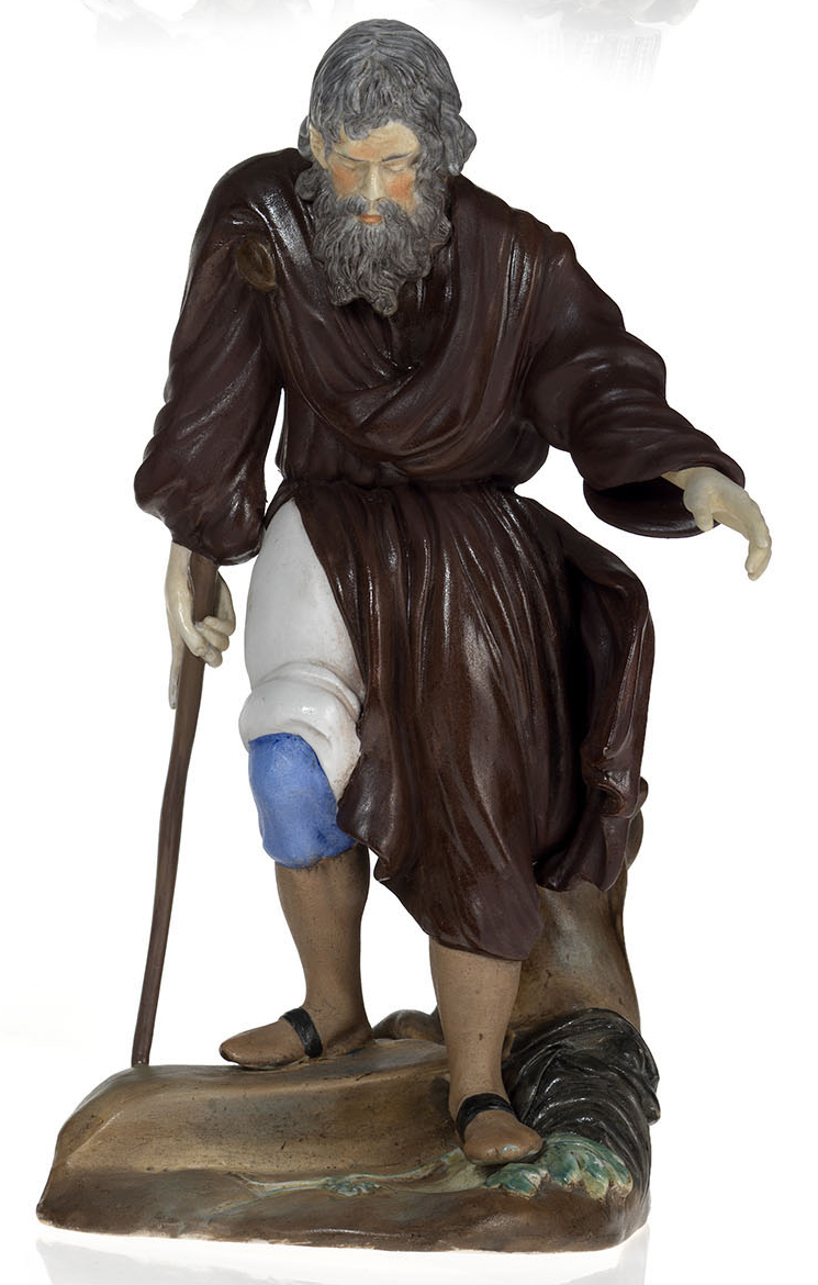 A Painted Biscuit Spill Vase in a Form of a Blind Beggar