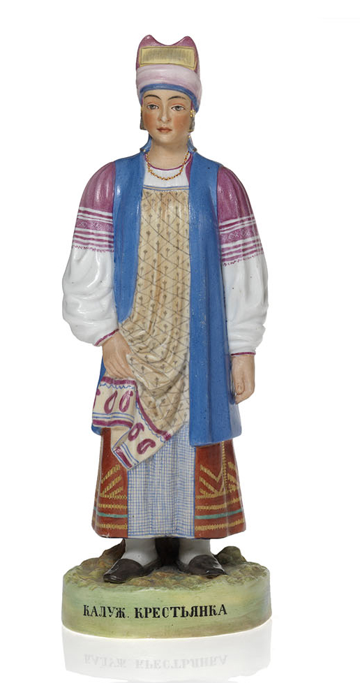 A Biscuit Porcelain Figurine of a Peasant Woman from Kaluga
