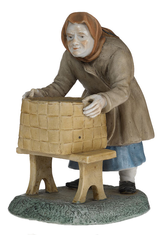 A Biscuit Porcelain Figurine of an Old Woman with a Basket