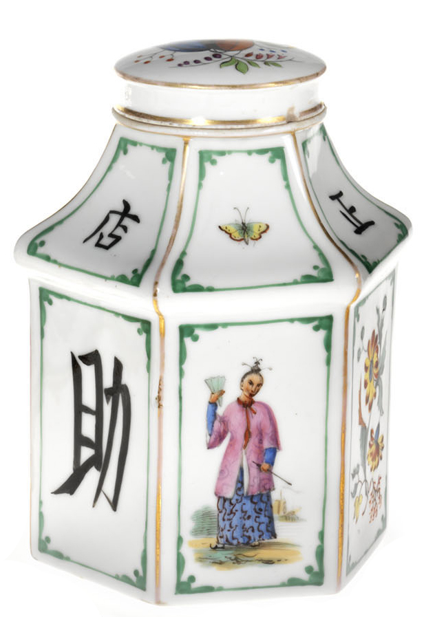 A Porcelain Tea-Caddy in Chinoiserie Style