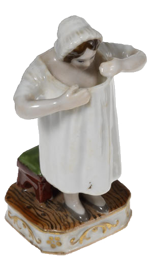 An Amusing Miniature Erotic Porcelain Figurine of a Lady Inspecting Her Frontage