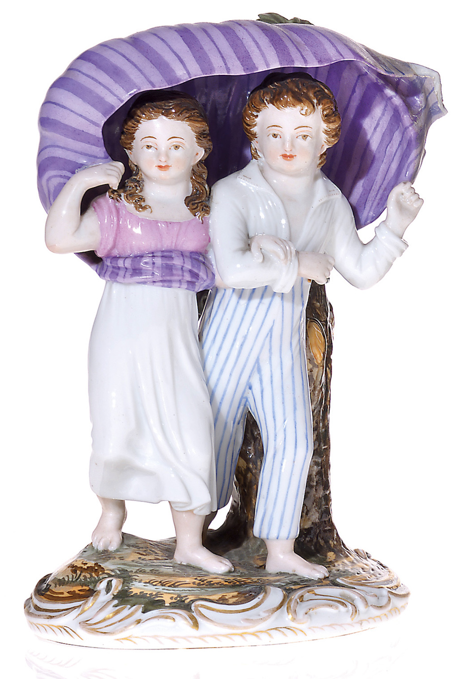 A Russian Porcelain Composition  of a Young Couple Sheltering from the Storm