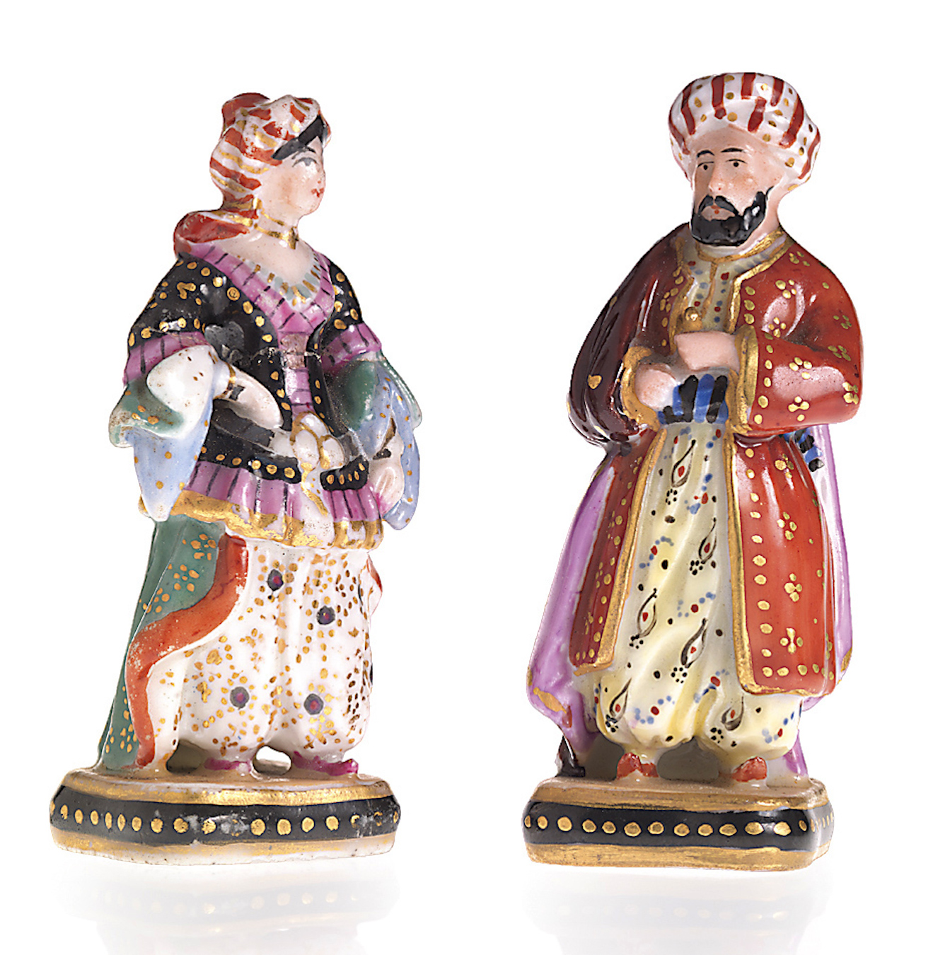 Two Russian Miniature  Porcelain Figurines of an Ottoman Couple