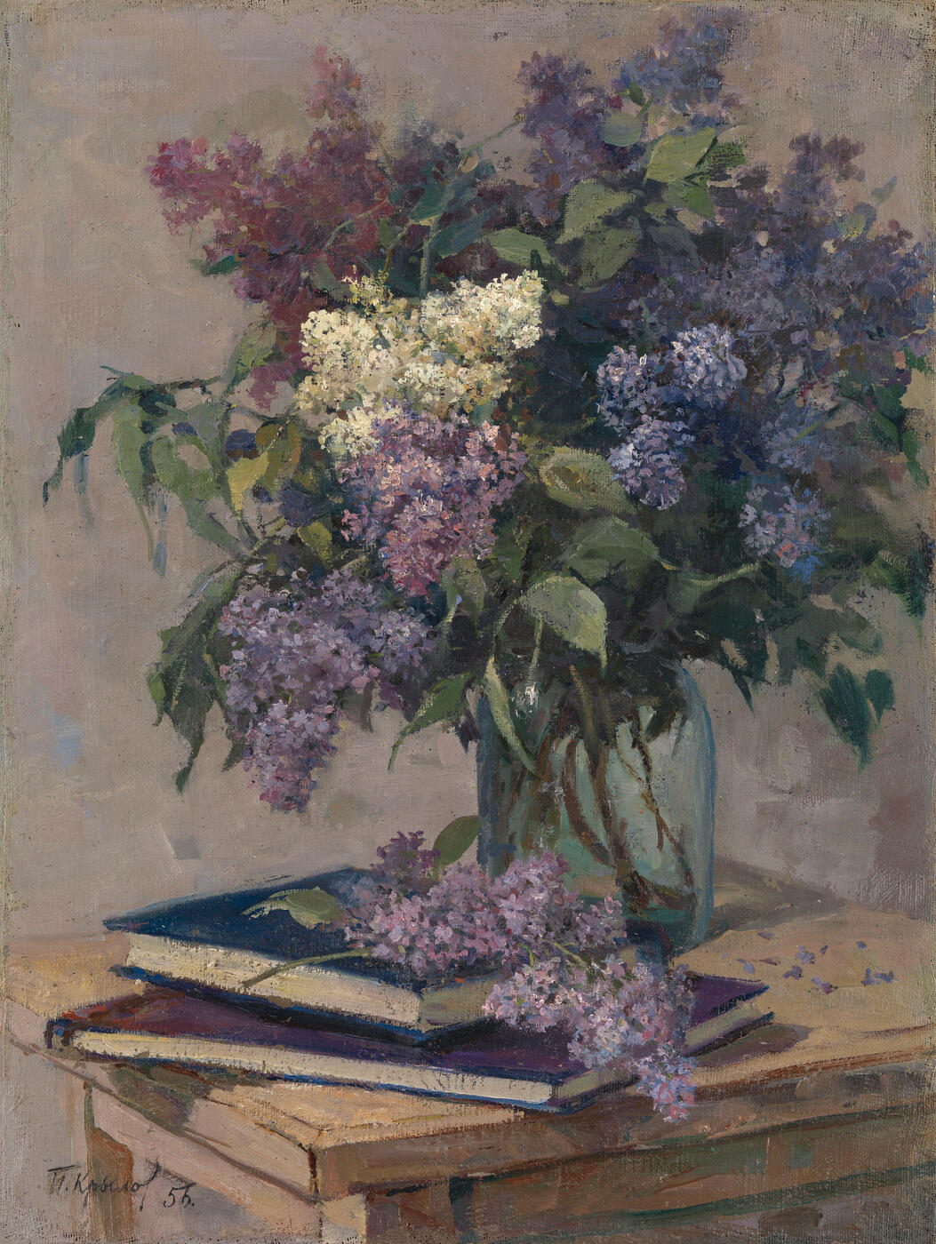 Still Life with Lilacs and Books