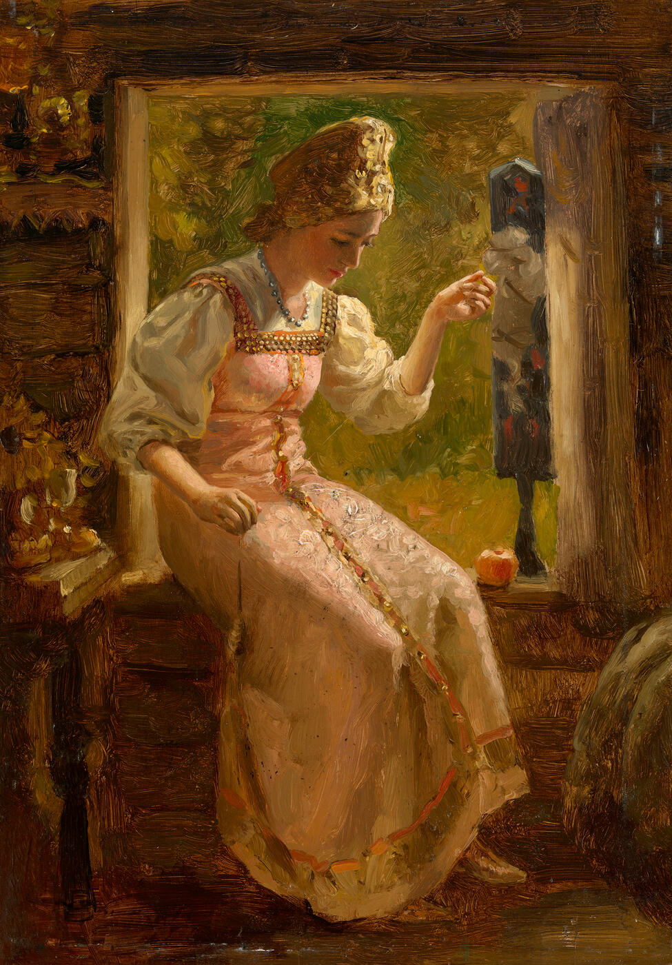 Young Woman Spinning Yarn by the Window