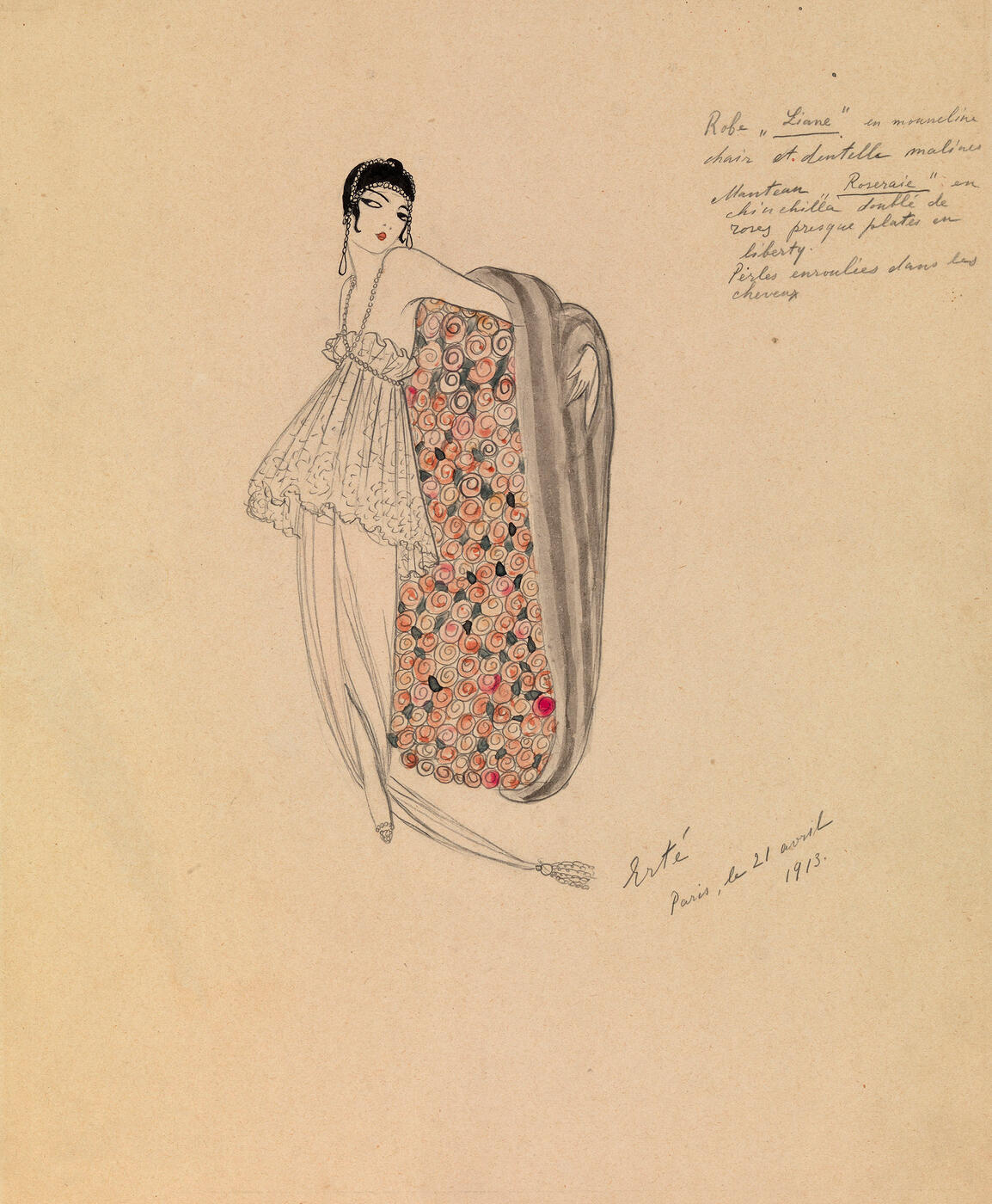 "Design for a Dress ""Liane"" and a Coat ""Roseraie"""