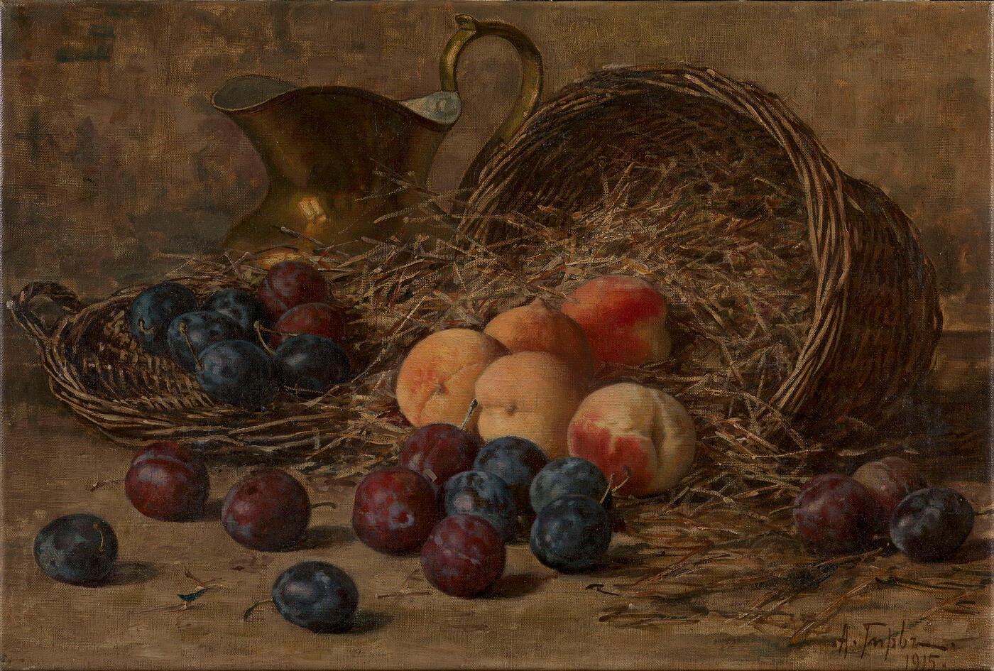 Still Life with Plums and Peaches