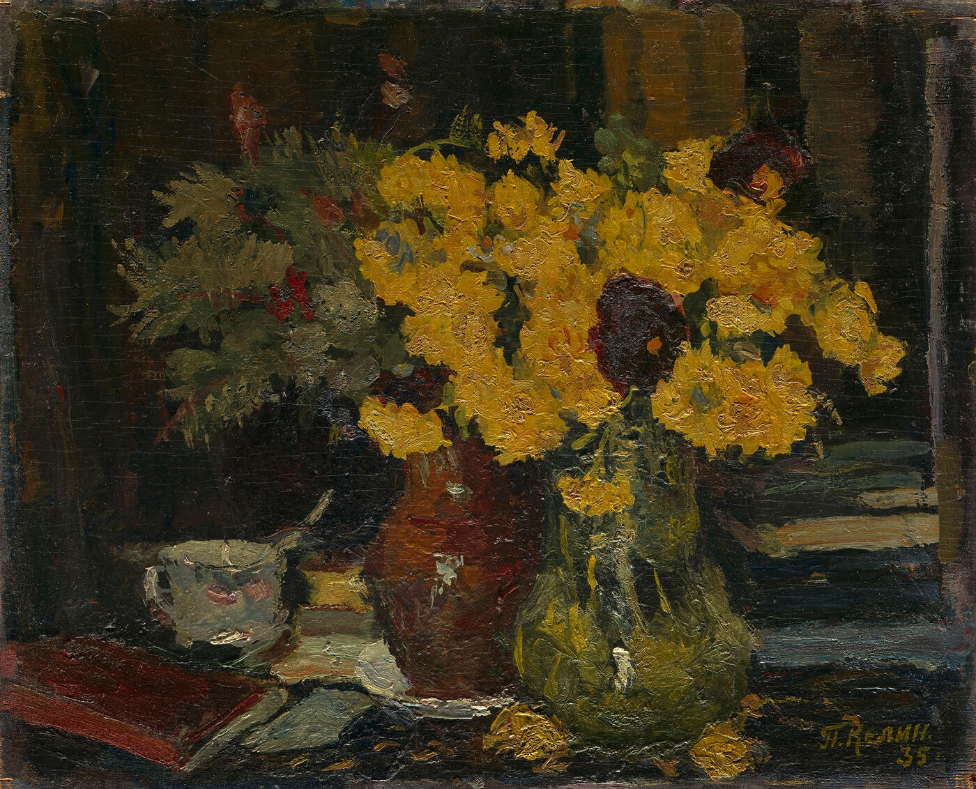 Still Life with Flowers and Books