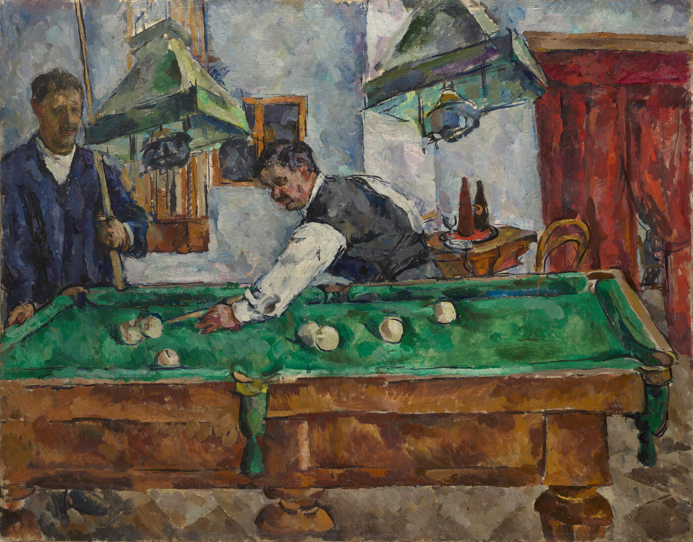 The Game of Billiards. Aristarkh Lentulov and Petr Konchalovsky
