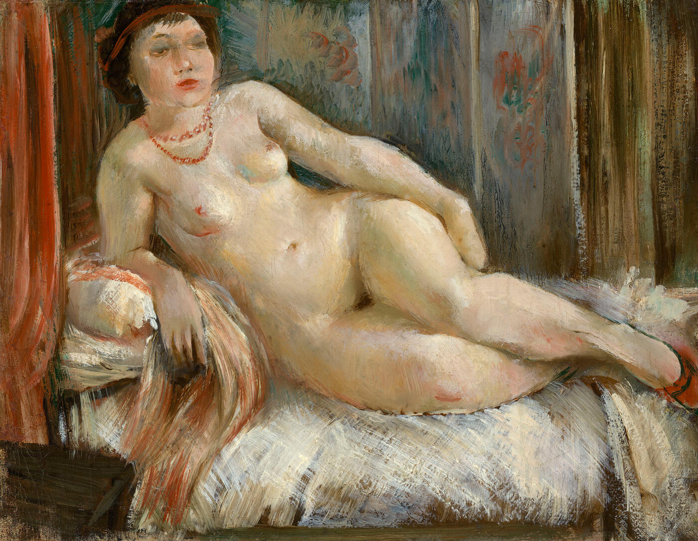 Reclining Nude with Red Necklace