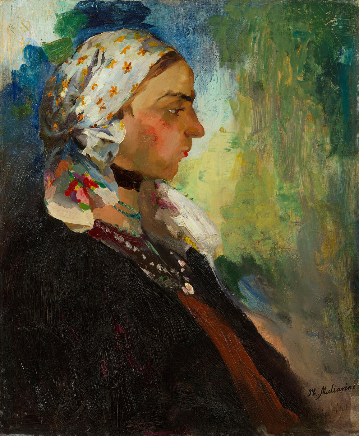 Portrait of a Peasant Woman in White Scarf