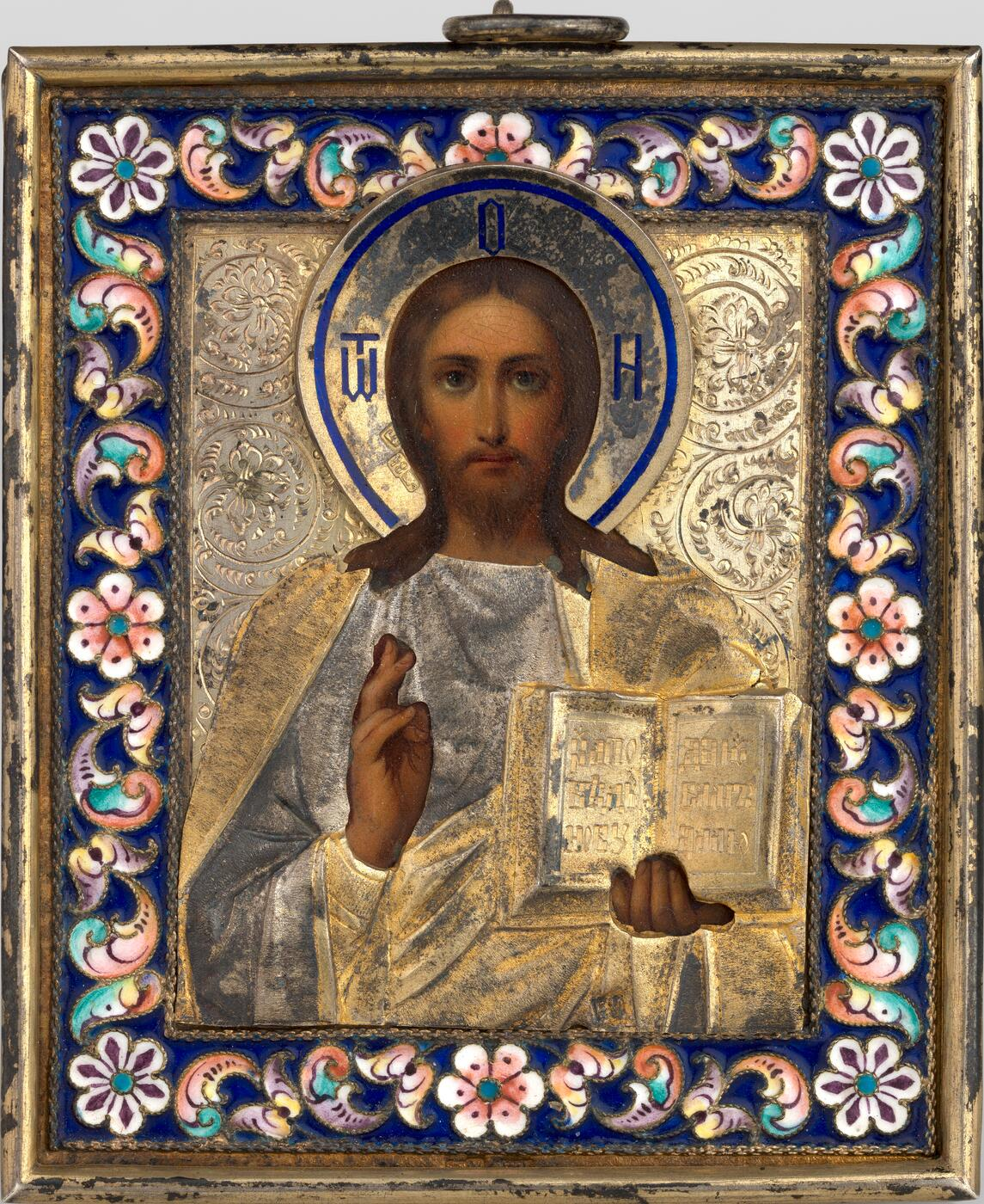 Christ Pantocrator in a Silver-Gilt and Cloisonné Enamel Oklad