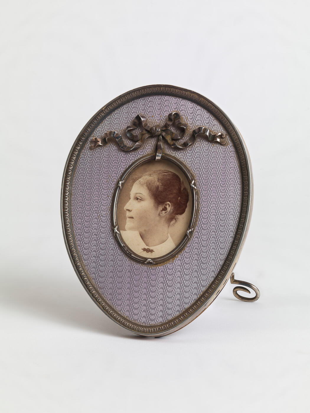 A Fabergé Silver and Guilloché Enamel Photograph Frame