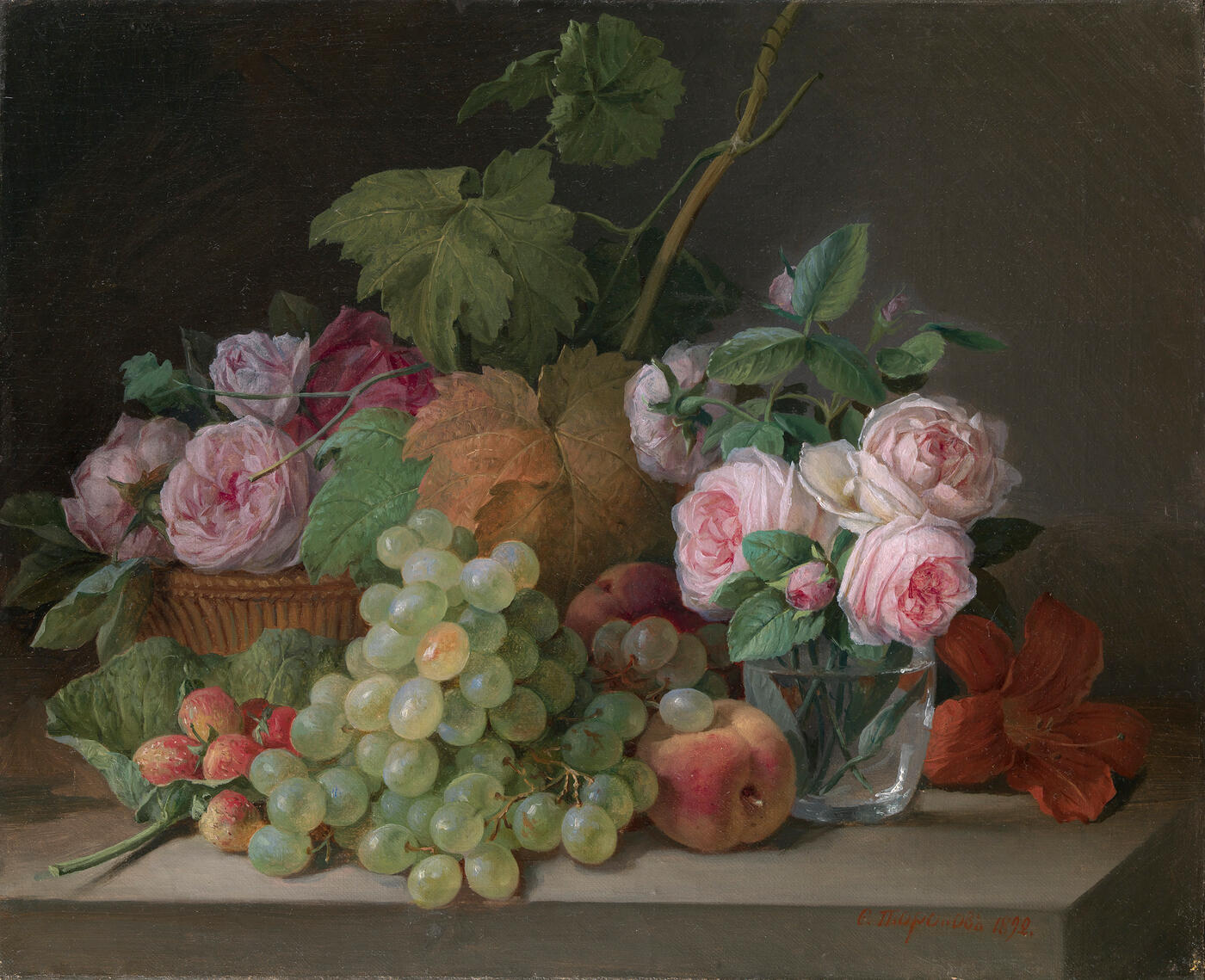 Still Life with Grapes and Roses