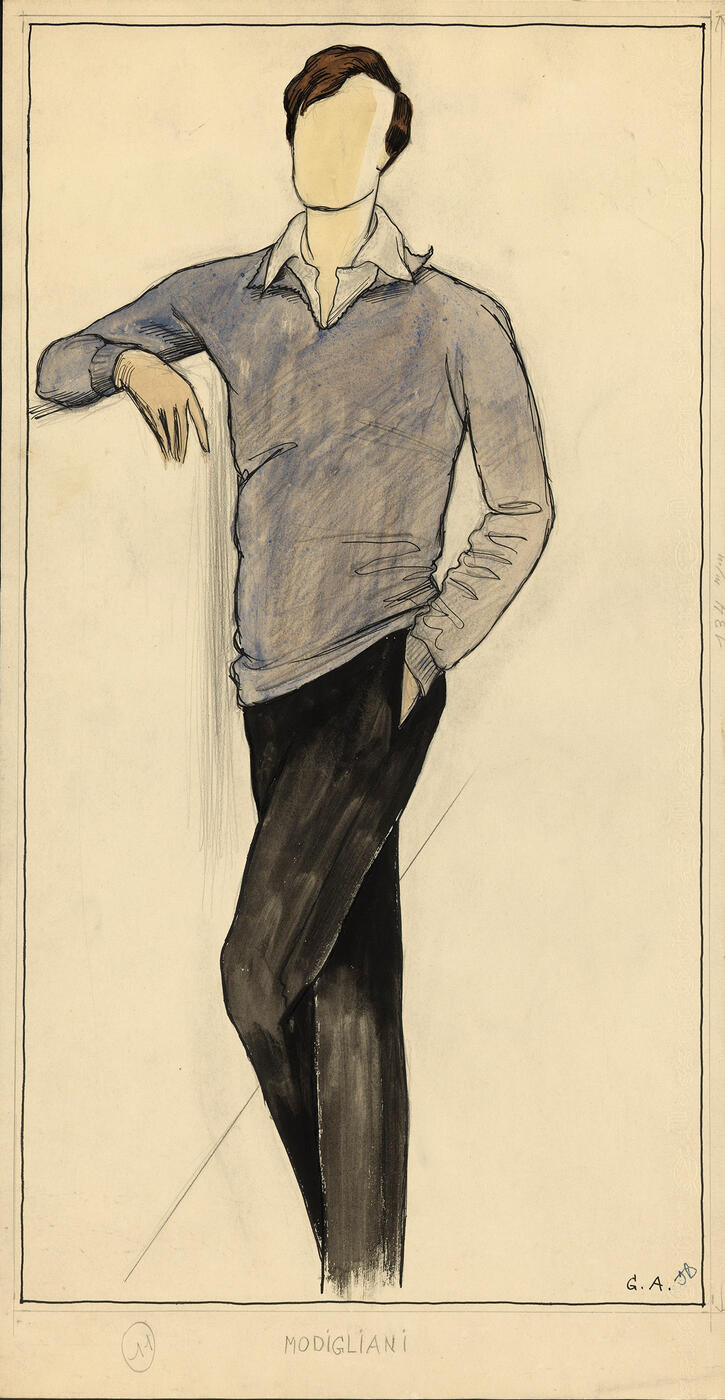 Modigliani, Costume Design for the Film ''Les amants de Montparnasse'' by Jacques Becker