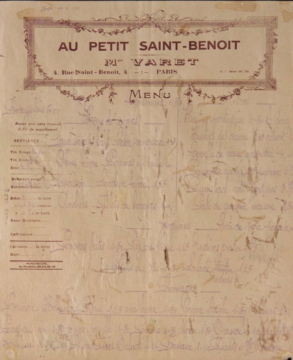 "Waitress of the Restaurant ""Au Petit Saint-Benoit"""