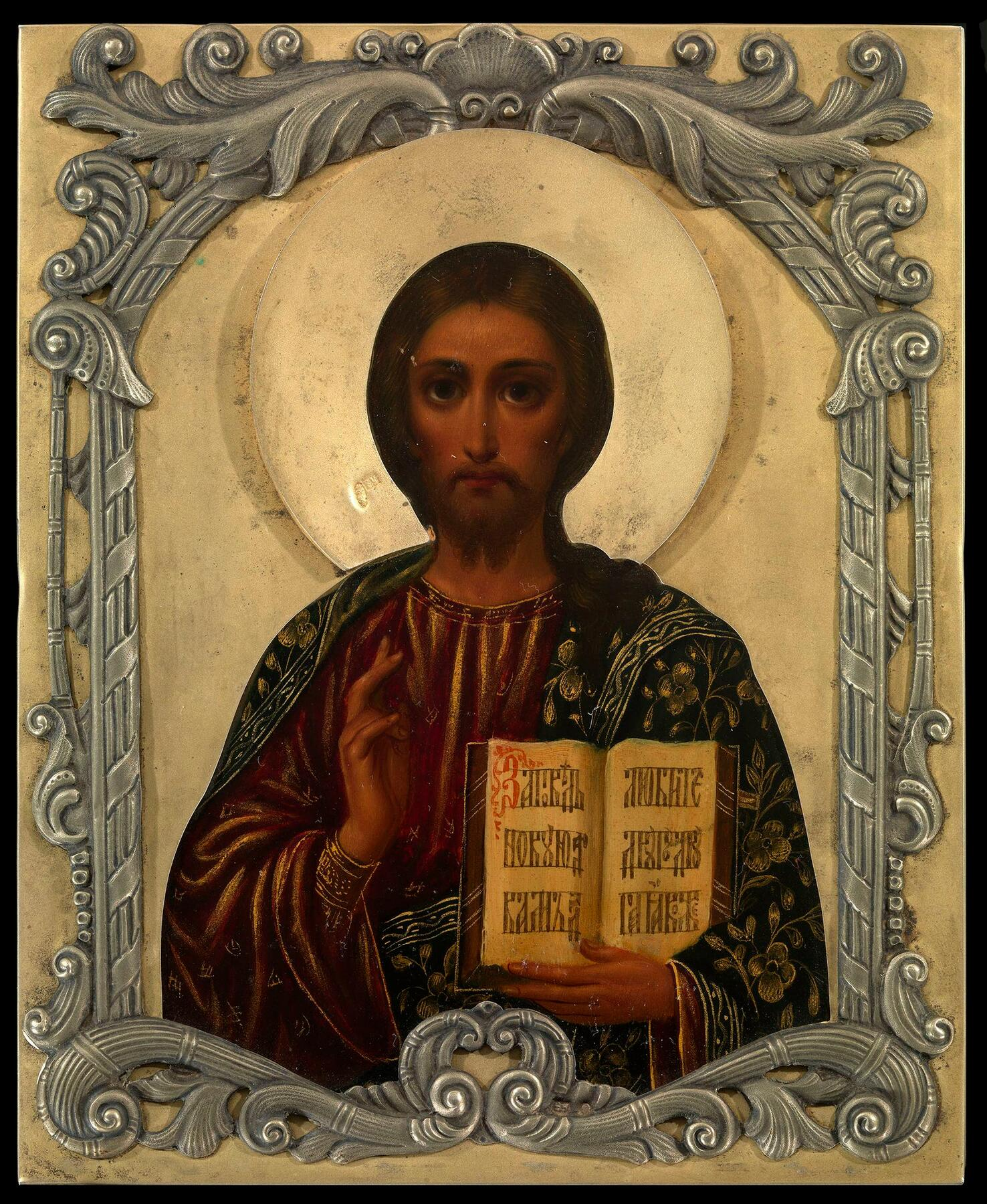 EARLY 20TH CENTURY, OIL ON PANEL, OKLADS STAMPED WITH MAKER'S MARKS EU IN CYRILLIC, MOSCOW, 84 STANDARD.