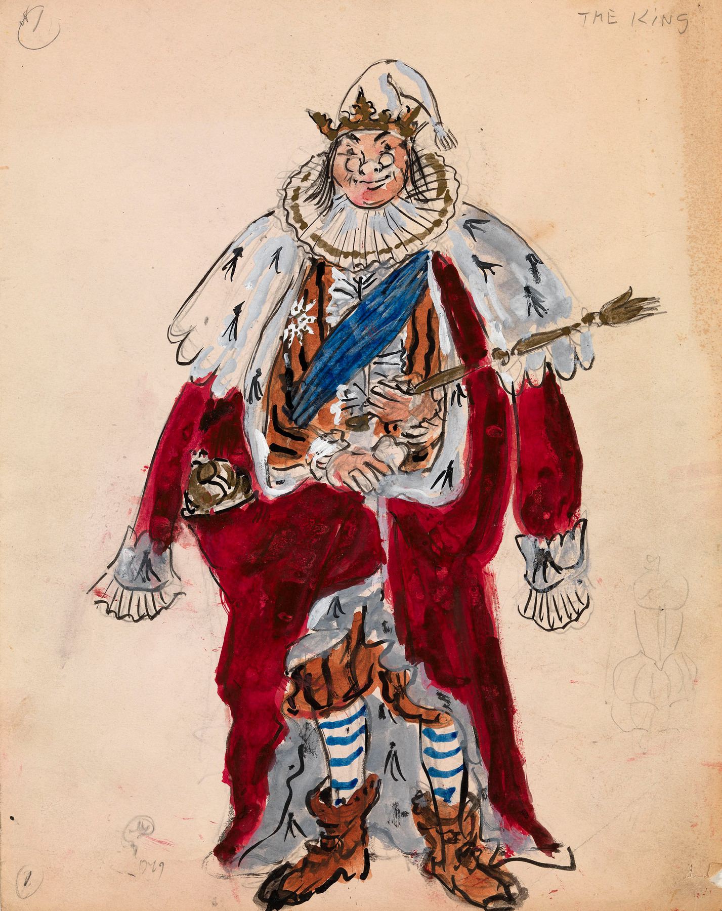 "A Group of Four Costume Designs for the Opera  ""The Love for Three Oranges"""