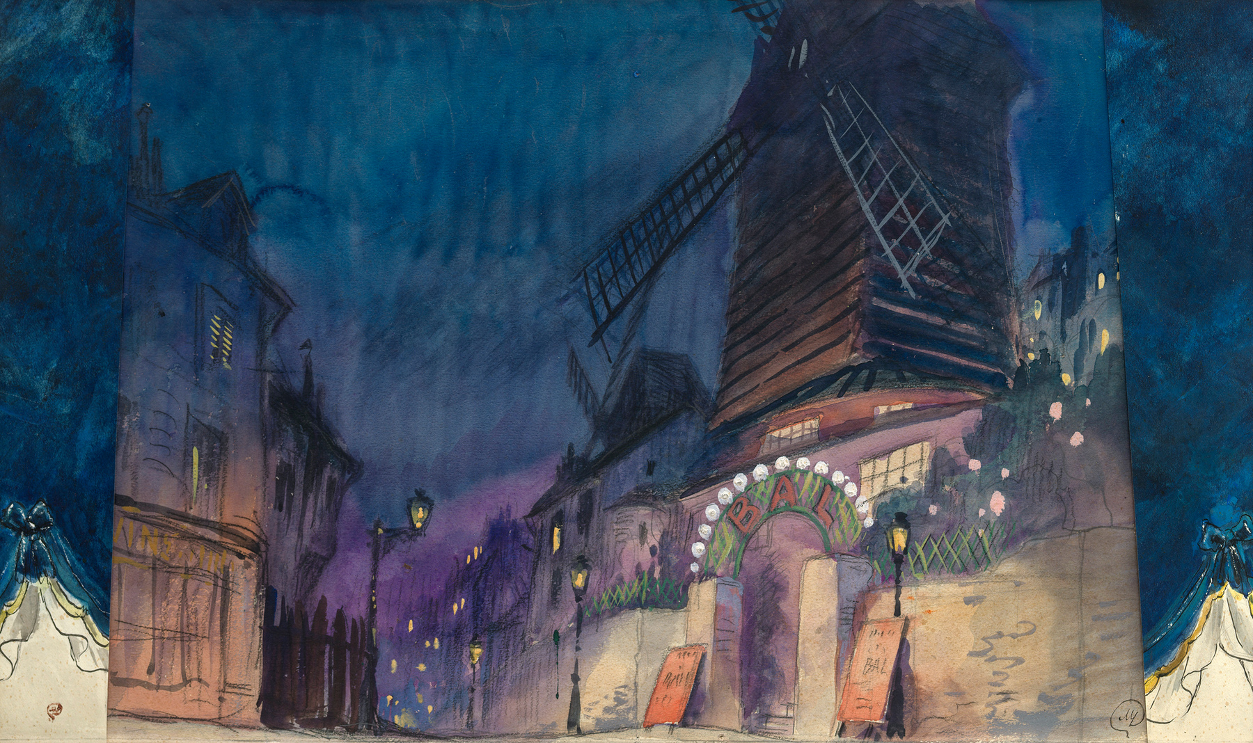 Design for the Moulin Rouge Cabaret , three-part composition
